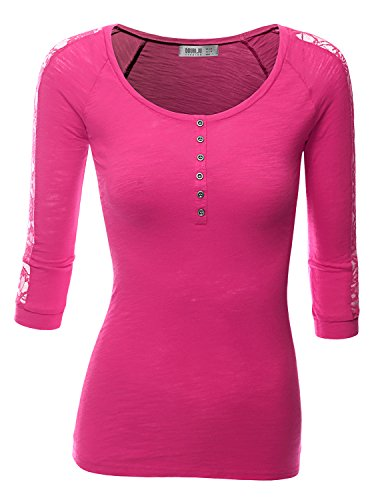 Doublju Womens 3/4 Sleeve Cotton Blend Henley Neck T-Shirt With Lace Trim FUCHSIA X-LARGE