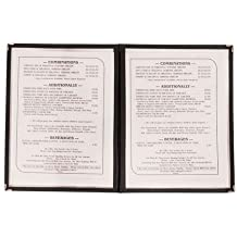 "Update International (MCV-2BK) 9 1/2"" x 12"" Double Panel Menu Cover"