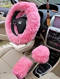 Yontree Winter Warm Faux Wool Handbrake Cover Gear Shift Cover Steering Wheel Cover 14.96'x 14.96' 1 Set 3 Pcs (Pink)