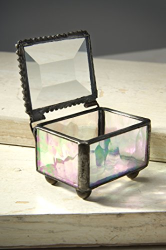 Keepsake Wedding Rings - J Devlin Box 325 Mini Jewelry Keepsake Box Clear Iridescent Stained Glass Gift for Her Ring Bearer Box Wedding Engagement Trinket Box 2 1/8