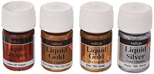 (Vallejo 4 x 35ml Gold Silver & Copper Metallic Set)