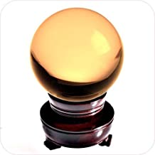 Amlong Crystal Yellow Crystal Ball 50mm (2 in.) Including Wooden Stand and Gift Package