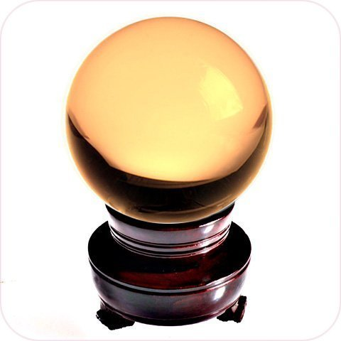 Amlong Crystal Meditation Divnation Sphere Feng Shui Crystal Ball, Lensball, Decorative Ball with Wooden Stand and Gift Box, Yellow, 2 inch (50mm) Diameter