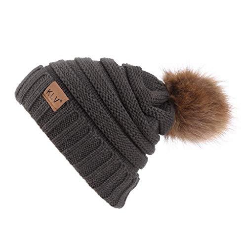 Winter Warm Ski Hat Laimeng_ World Men Women Baggy Warm Crochet Wool Knit Ski Hat Beanie Skull Slouchy Cap (Brown)