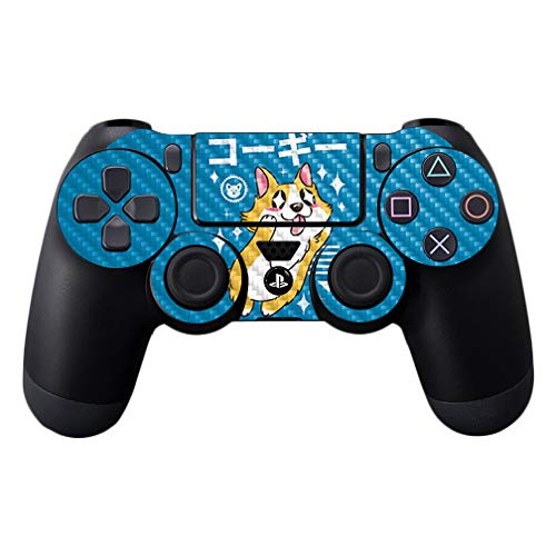 MightySkins Carbon Fiber Skin for Sony PS4 Controller - Corgi Kawaii | Protective, Durable Textured Carbon Fiber Finish | Easy to Apply, Remove, and Change Styles | Made in The USA