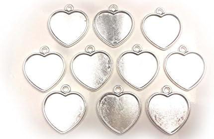 【HARU雑貨】シルバー ミール皿 10枚セット/ハート 中 銀 s06/セッティング レジン アクセサリーパーツ