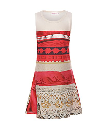 ReliBeauty Little Girls Digital Print Princess Moana Dress, Red, 5