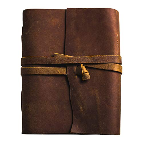 - Antique Genuine Leather Notebook Journal | Vintage Travelers Notebook Men and Women 8 by 6 inches