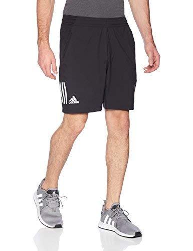 adidas Mens Tennis Club 3 Stripes Short, Black, Medium