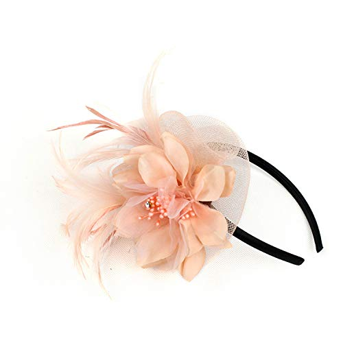 VACIGODEN Netting Feathers Big Flower Headband Party Girls