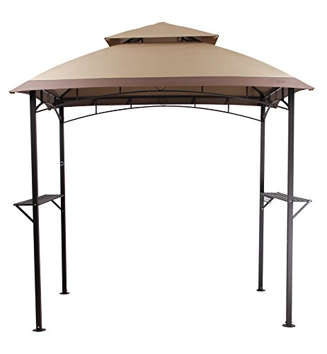 PHI VILLA Outdoor 8'x 5' BBQ Grill Gazebo Barbecue Shelter Tent with Double-Tier Soft Top Canopy and Frame