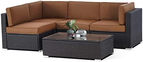Patiomore 5-Piece Outdoor Patio Sectional Sofa Sets,All Weather Black Brown Wicker Furniture Set with Glass Coffee Table, Coffee Brown Cushion