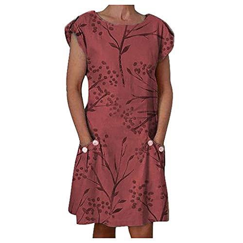 iBOXO Women's Summer Short Sleeve O-Neck Print Button Pocket Dress Casual Loose Mini Shirt -