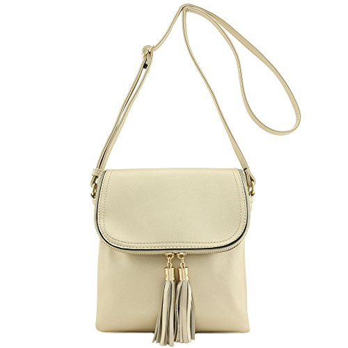 Tassel Crossbody Top Flap Accent nbsp;with Bag Gold Double Compartment xwtaqdYa