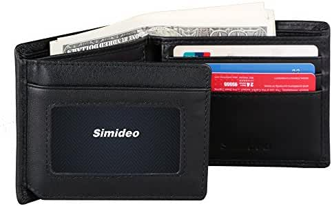Simideo Men's TOP-GRAIN Genuine Leather Wallet Ultra-Slim Bifold Trifold Wallet with RFID Blocking - Black
