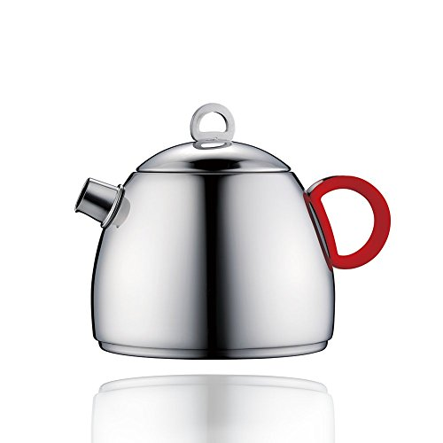 Minos Stunning Polished Stainless Steel Teapot - 17 OZ - With Tea Strainer And Silicon Handle