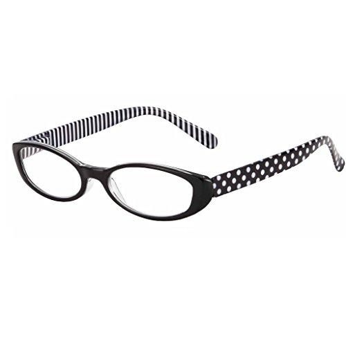 I Heart Eyewear Domino Black & White Dots & Stripes Reading Glasses, 1.75