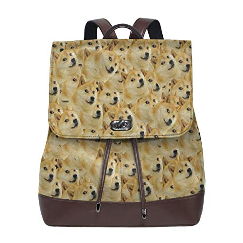 Shiba Inu Women's Leather Backpack,Unique Design With Elegant Appearance]()