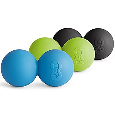 RAD Roller (Medical Grade Silicone Self Massage Mobility and Recovery Myofascial Release Double Balls in Multiple Densities, Blue/Green/Black)