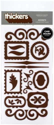 American Crafts Thickers Chipboard Stickers, Accents Chestnut Brown ()