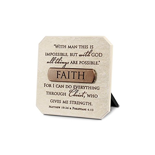 Faith Plaque - Lighthouse Christian Products Faith Title Bar Plaque, 3 3/4 x 3 3/4