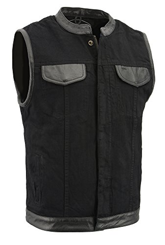M-BOSS APPAREL-Men's Denim Club Style Vest w/Leather Trim & Hidden Zipper-BLACK-LG