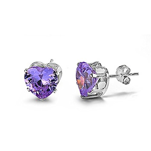 (Stud Post Earring Heart Shaped Simulated Purple Amethyst 925 Sterling Silver)