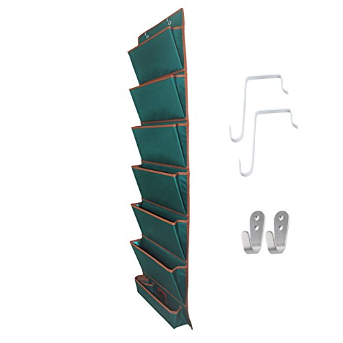 Clutch Fabric Storage Organizer Pockets: 7 Pocket Folding Office Supplies File Chart Hanging Magazine Rack for Home, School, Business, Clothing | Includes 4 Over Door Hooks & Durable Wall - Sunglasses Mail Order