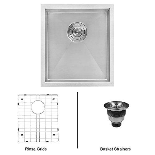 Ruvati 16-inch Undermount 16 Gauge Zero Radius Bar Prep Sink Stainless Steel Single Bowl - ()