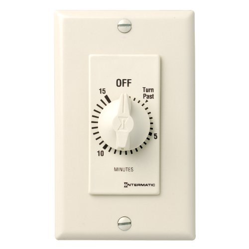 Intermatic FD15MAC 15-Minute Spring-Loaded Automatic Shut-off In-Wall Timer for Fans and Lights, Almond