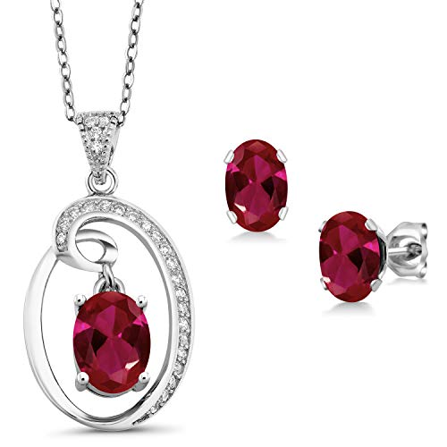 Gem Stone King 3.80 Ct Oval Red Created Ruby Sterling Silver Pendant Earrings ()