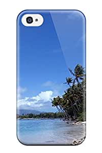 Top Quality Case Cover For Iphone 4/4s Case With Nice Tropical Island Coast Palms Beach Coastline Ocean Background Nature Other Appearance