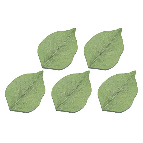 RIANCY Leaf Shape Sticky Notes, Memo Self-Stick Notes,Things to Do List Notepad, Schedule Marker, 50 Sheets/Pack (Leaf,Pack of 5)