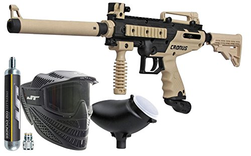 Black Collapsible Tactical Goggles - Tippmann Cronus Combat Powerpack .68Cal Paintball Kit Includes Raptor Goggle, 90G Co2 Tank, 200Rd Loader, Tan