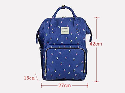 Mummy bolsa de hombro de gran capacidad de la mamá de gran capacidad de bolsa fuera de la mochila de la madre de la moda paquete madre bolsa de bebé ( Color : Azul ) Azul