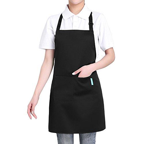 Adjustable Two Pocket Apron - esonmus Adjustable Bib Adult Apron 2 Pockets - Waitresses Apron, Heavy Duty Kitchen Apron, Money Apron - Cooking Kitchen Aprons Women Men