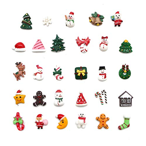 WSSROGY 30 Pcs Mixed Christmas Tree Snow Resin Flatback Craft Slime Charms Resin Flatback of Slime Beads for Craft Making DIY Decoration Scrapbooking Craft Accessory