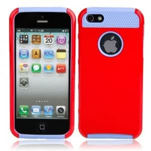 PC + Silicone Protective Case for iPhone 5 Blue Background & Red