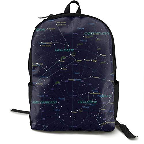 Starry Sky Constellation Cute Cartoon Star Rucksacks, Large Capacity Bookbag Travel Hiking Bag Day Pack, School Daypack Backpack Casual Daypack Climbing Shoulder Bag Laptop Book Bag Rucksack