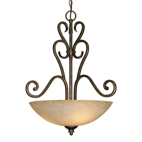Golden Bronze Bowl Pendant - Golden Lighting 8063-3P Bus Three Light Pendant, Bronze
