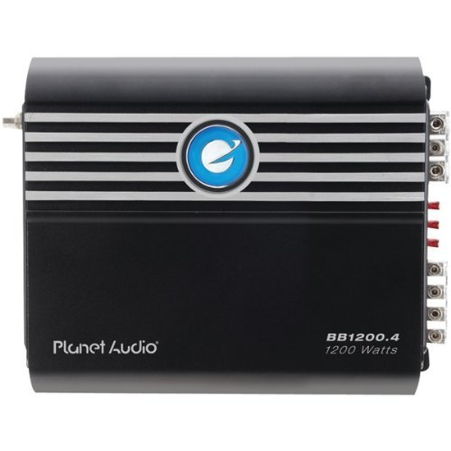 Planet Audio BB1200.4 Big Bang 1200 Watt, 4 Channel, 2 Ohm Stable Class A/B, Full Range, Bridgeable, MOSFET Car Amplifier with Remote Subwoofer - World 1957 Series Mini