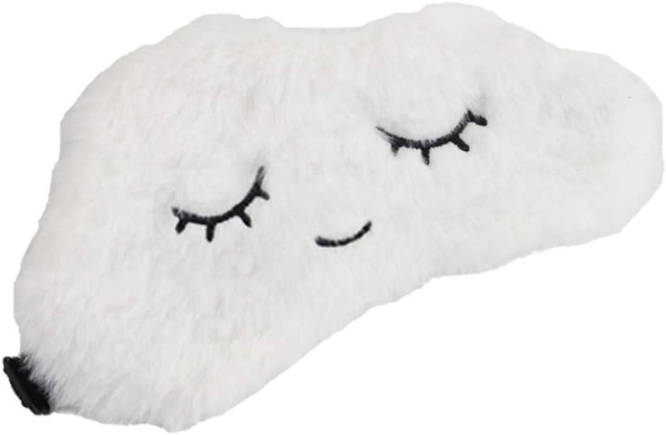 Mignonne brod/ée en Forme de Nuage Sitonelectic Masque de Sommeil pour Femmes et Filles en Peluche Moelleuse Bandeau r/églable Portable Blanc
