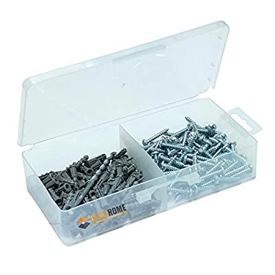 "Ribbed Plastic Anchor Kit with Screws and Masonry Drill Bit (#6-8 x 7/8"")"
