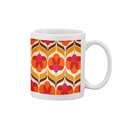 70s Retro Wallpaper Retro Orange Red Sun Flowers Symmetrical Drawing Printed Mug Coffee Tea Cup 11oz (70s Retro Wallpaper)