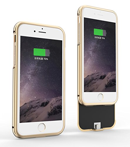 iPhone 7 Battery Colorful Case, Tinpec Portable 2800mAh Rechargeable External Battery Backup Charger Charging Case Power Bank Cover for Apple iPhone 7 2016 (4.7 inch) (Gold) Colorful Case