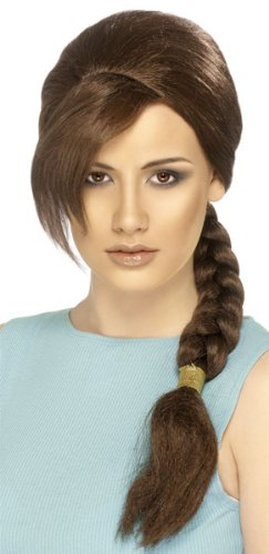Smiffys Women's Lara Croft Wig, Brown, One Size