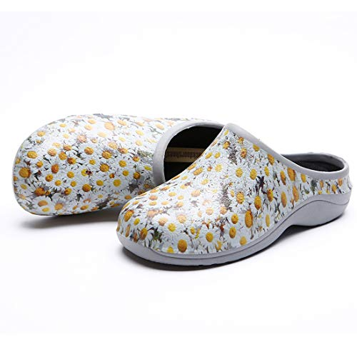 (Backdoorshoes Waterproof Premium Garden Clogs with Arch Support-Daisy Design (9))