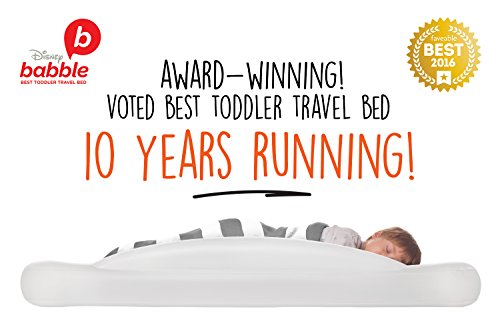 The Shrunks Toddler Travel Bed Portable Inflatable Air Mattress Bed for Travel or Home Use, White, Toddler Size with Security Rails 60 x 37 x 9 inches