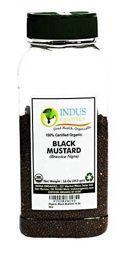 Indus Organics Black Mustard Seeds, 1 Lb Jar, Premium Grade, High Purity, Freshly Packed Organic Vegan Mustard