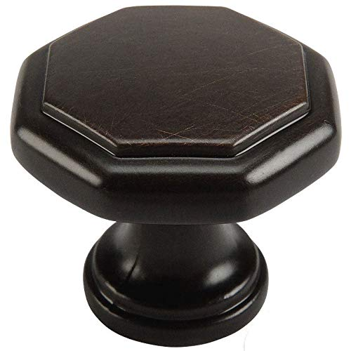 - 25 Pack - Cosmas 5181ORB Oil Rubbed Bronze Cabinet Hardware Octagon Knob - 1-1/4